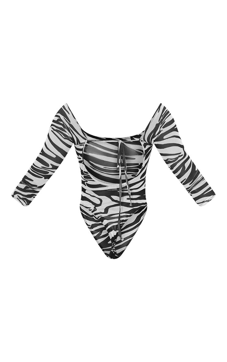 Monochrome Zebra Print Mesh Bardot Bodysuit 6