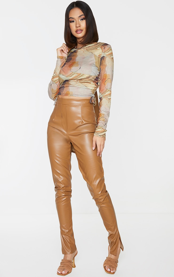 Beige Abstract Print Jersey Ruched Side Long Sleeve Crop Top 3