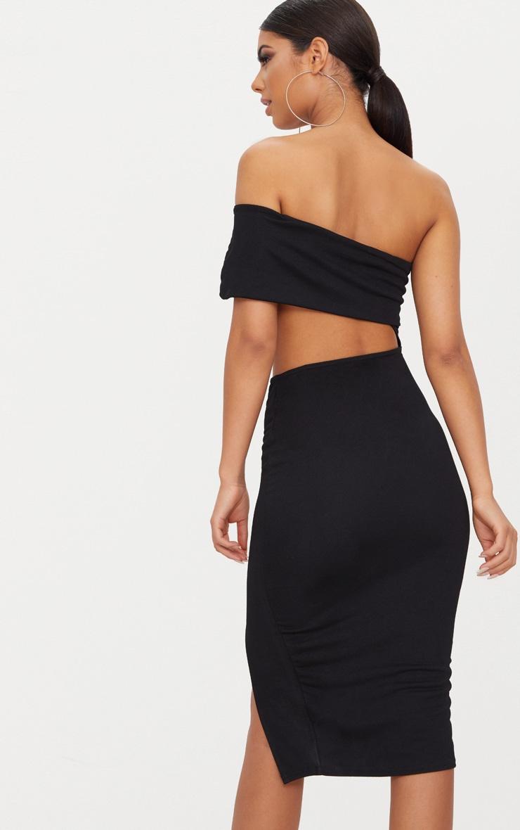 da5a16a1 Black One Shoulder Asymmetric Cut Out Midi Dress