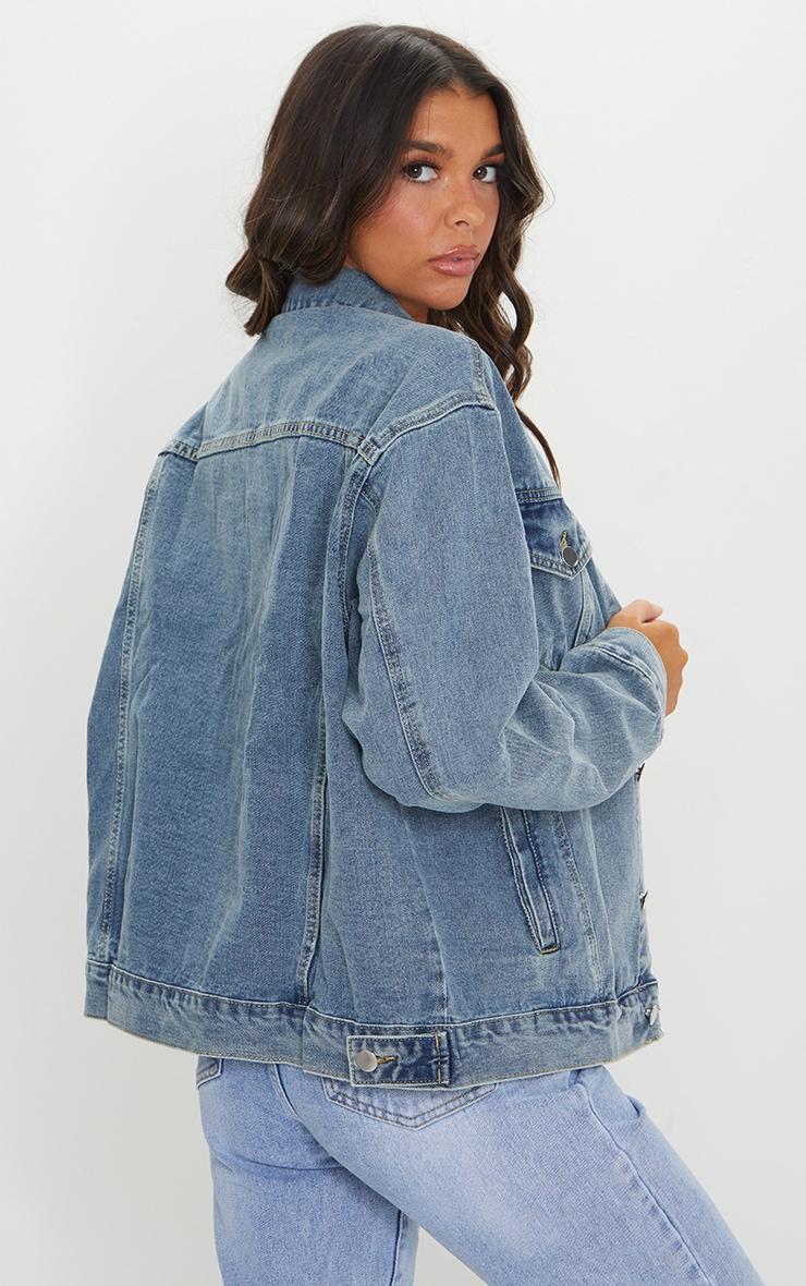 PRETTYLITTLETHING Vintage Wash Oversized Boyfriend Denim Jacket 2