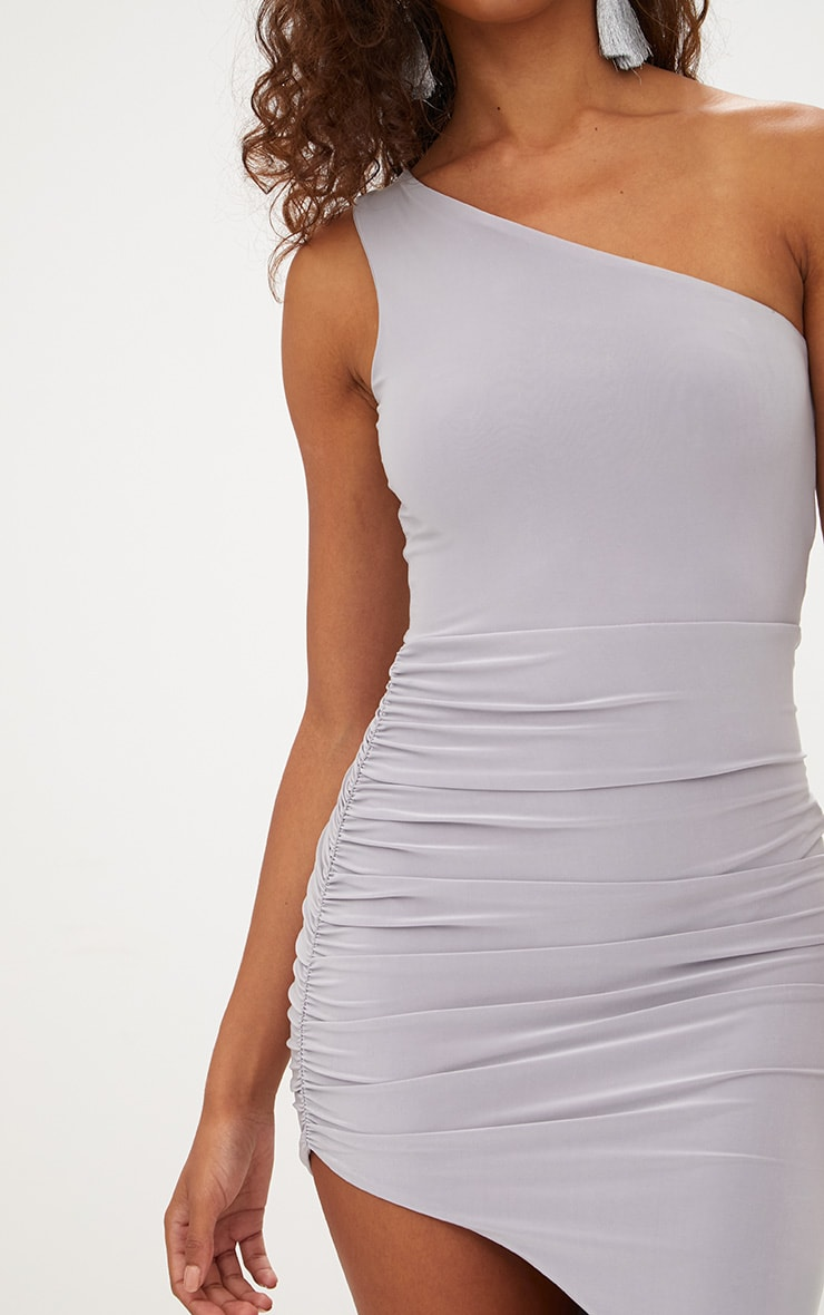 Petite Ice Grey Slinky One Shoulder Asymmetric Ruched Dress 5