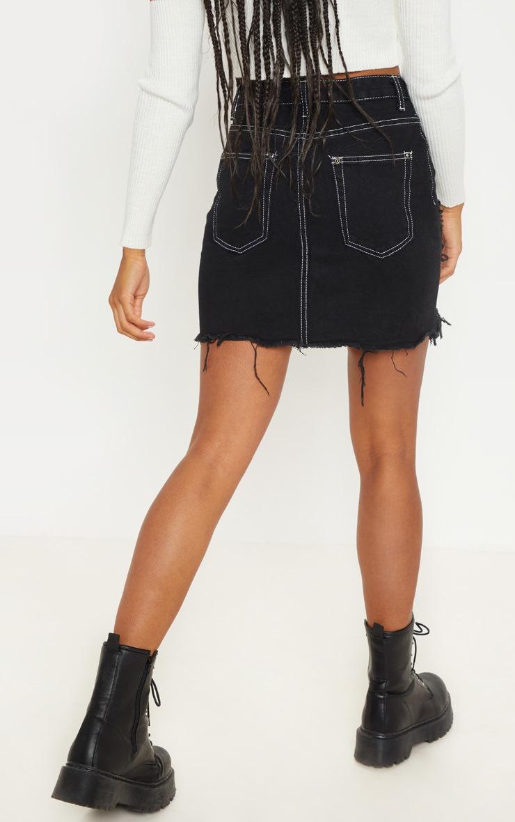 Black Contrast Stitch Distressed Denim Mini Skirt 4