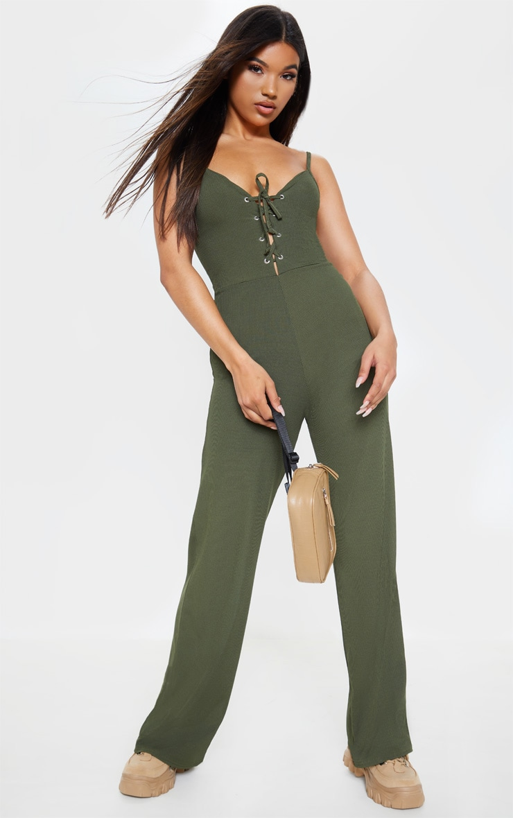 0ed432ebba2 Khaki Lace Up Strappy Rib Jumpsuit image 1