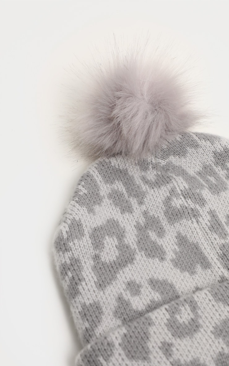 Grey Leopard Beanie Hat With Pom 3