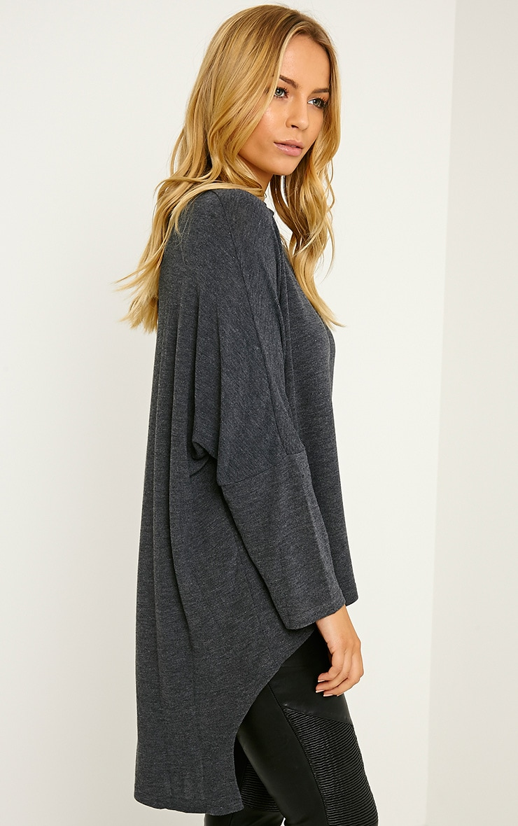 Pryah Grey Fine Knit Drop Hem Top 4
