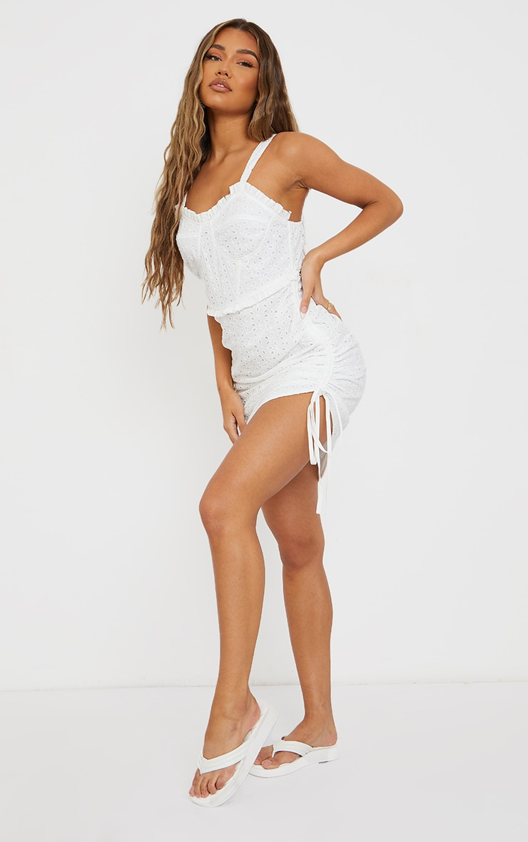 White Broderie Anglaise Binding Detail Ruched Bodycon Dress 3