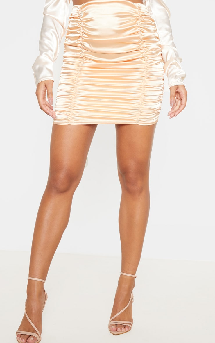 Peach Satin Ruched Detail Mini Skirt  2