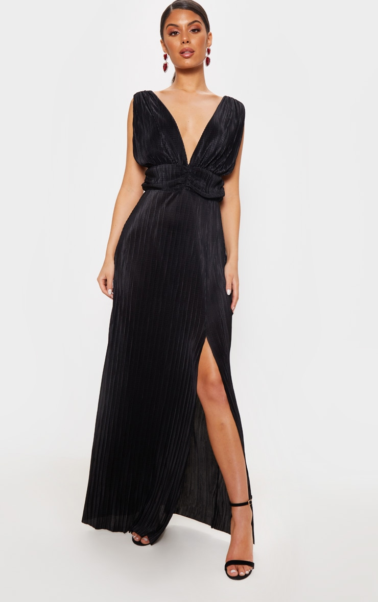 Black Plisse Plunge Ruched Detail Maxi Dress 1
