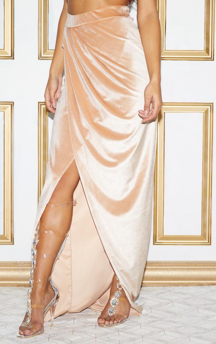 Champagne Velvet Wrap Maxi Skirt 3