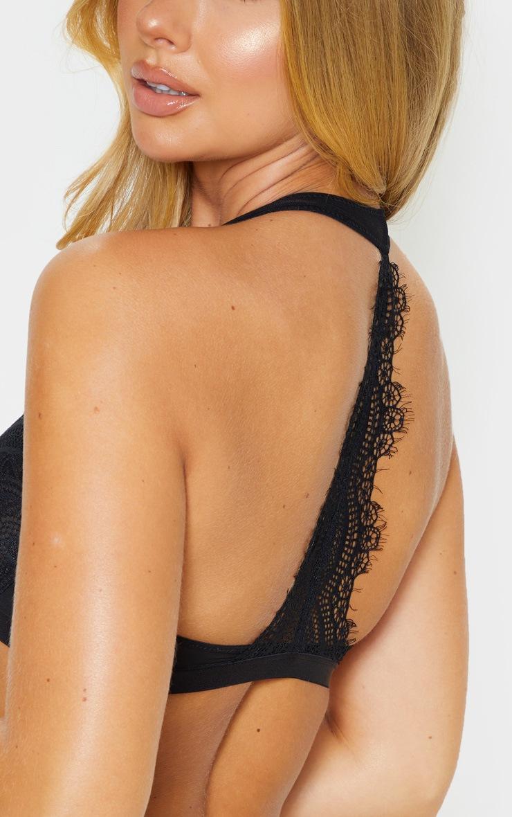 Black Underwired Clip Front Lace Bra 5
