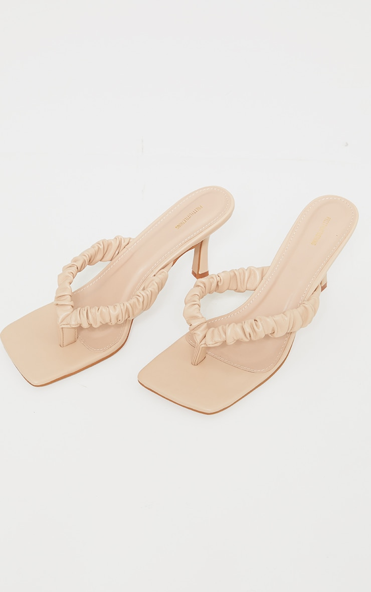 Nude Ruched Strap Toe Thong Heeled Sandals 4
