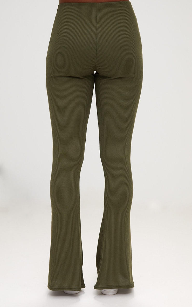 Khaki Ribbed Flared Trousers 4