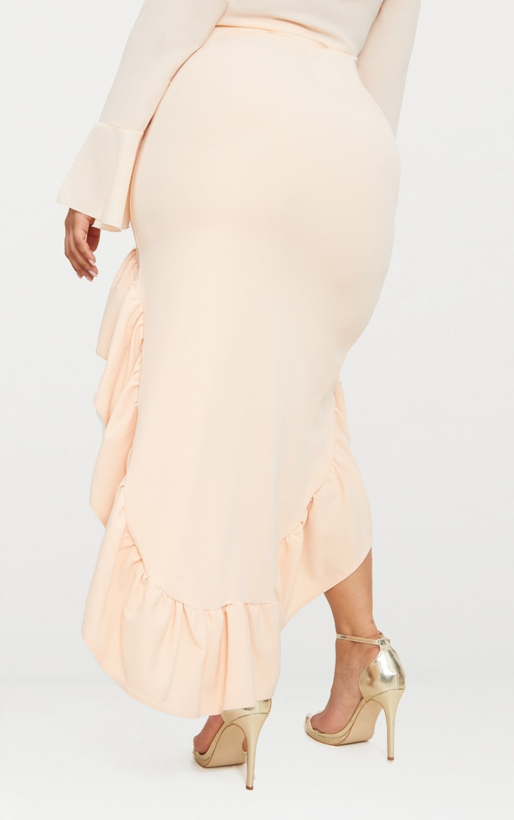 Plus Nude Frill Hem Midi Skirt 4