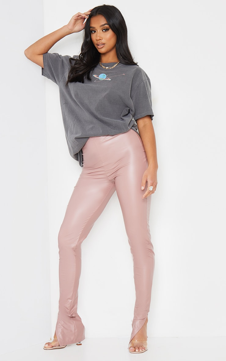 Petite Dusty Pink Split Hem Coated PU Leggings 1