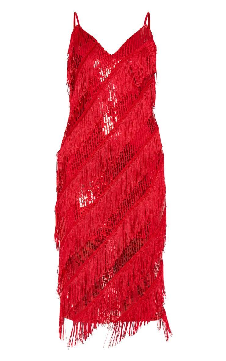 Robe mi-longue à sequins rouges et franges 3
