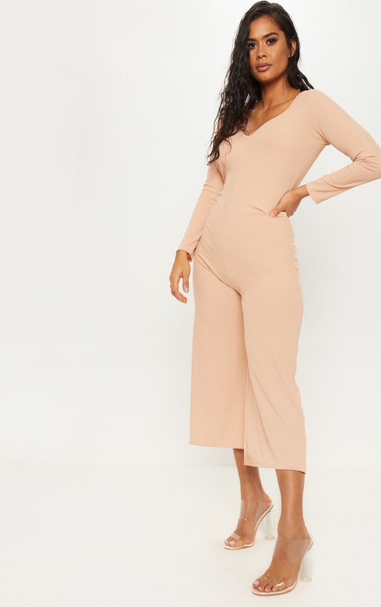 Stone Ribbed Open Back Long Sleeve Jumpsuit 4