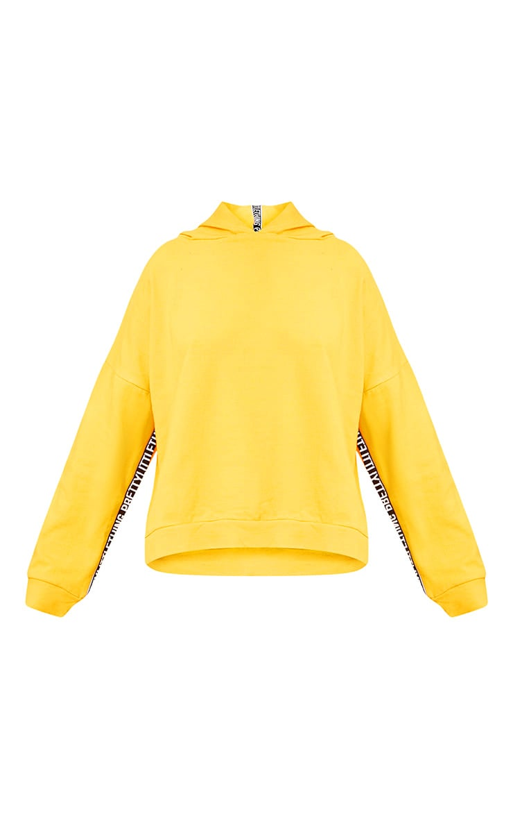 PRETTYLITTLETHING Yellow Branded Oversized Hoodie 3