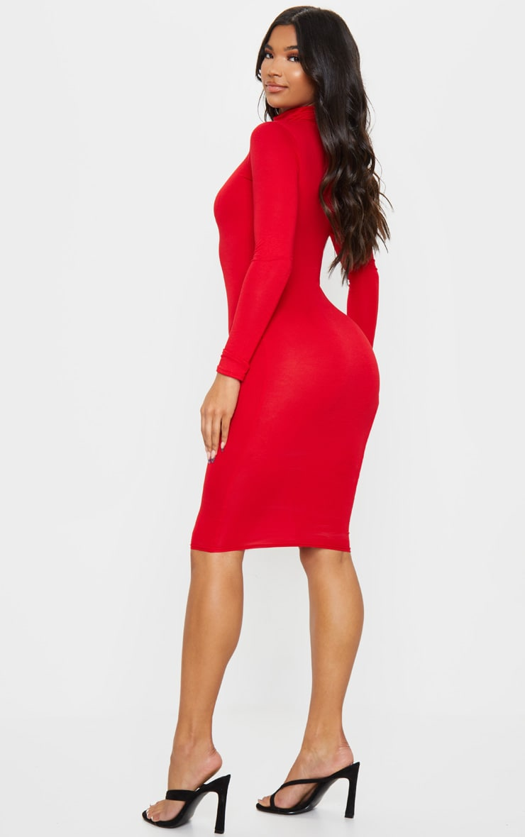 Basic Red Roll Neck Midi Dress 2