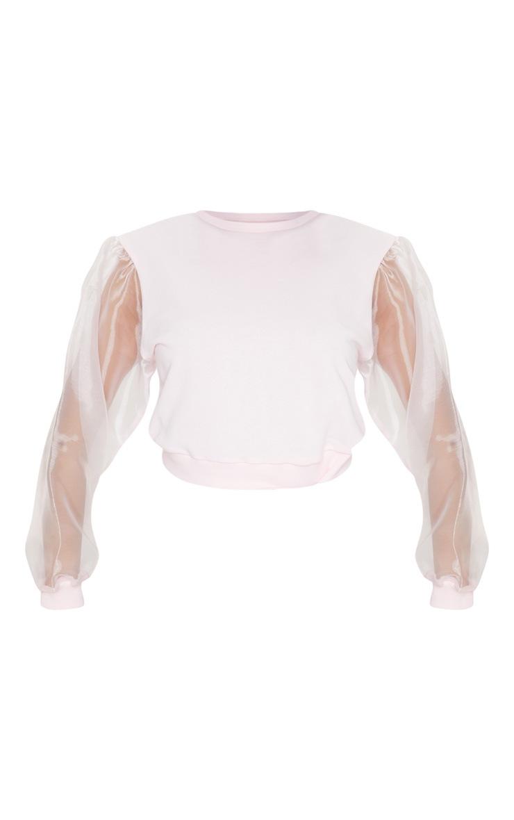 Petite Blush Organza Sleeve Sweater 5