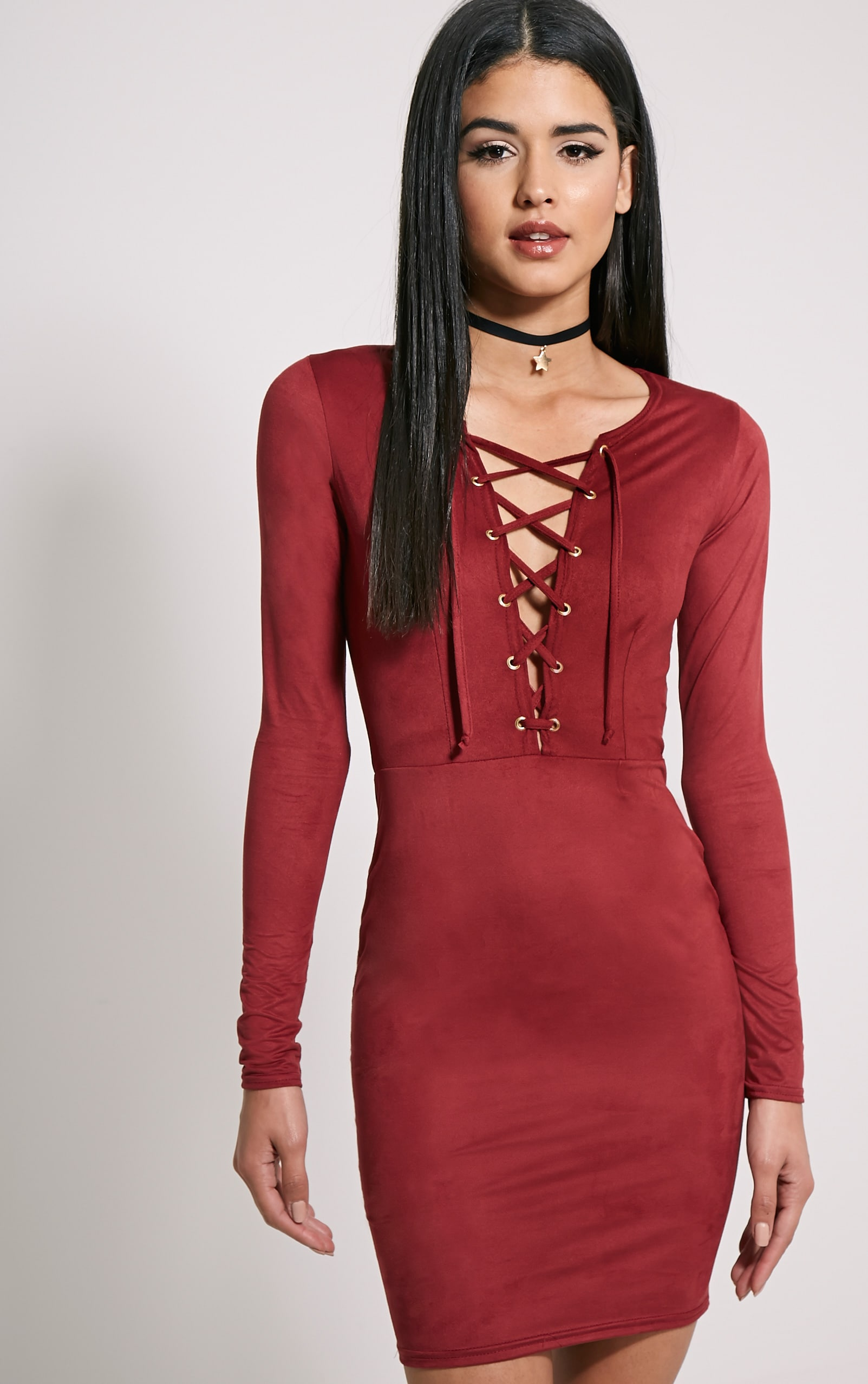 Solita Wine Faux Suede Lace Up Mini Dress 1