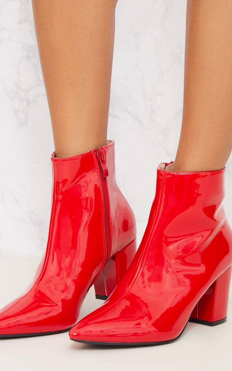 Red Point Block Heel Ankle Boot 6