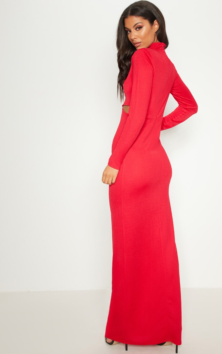 Red High Neck Keyhole Cut Out Maxi Dress Pretty Little Thing HV19OB