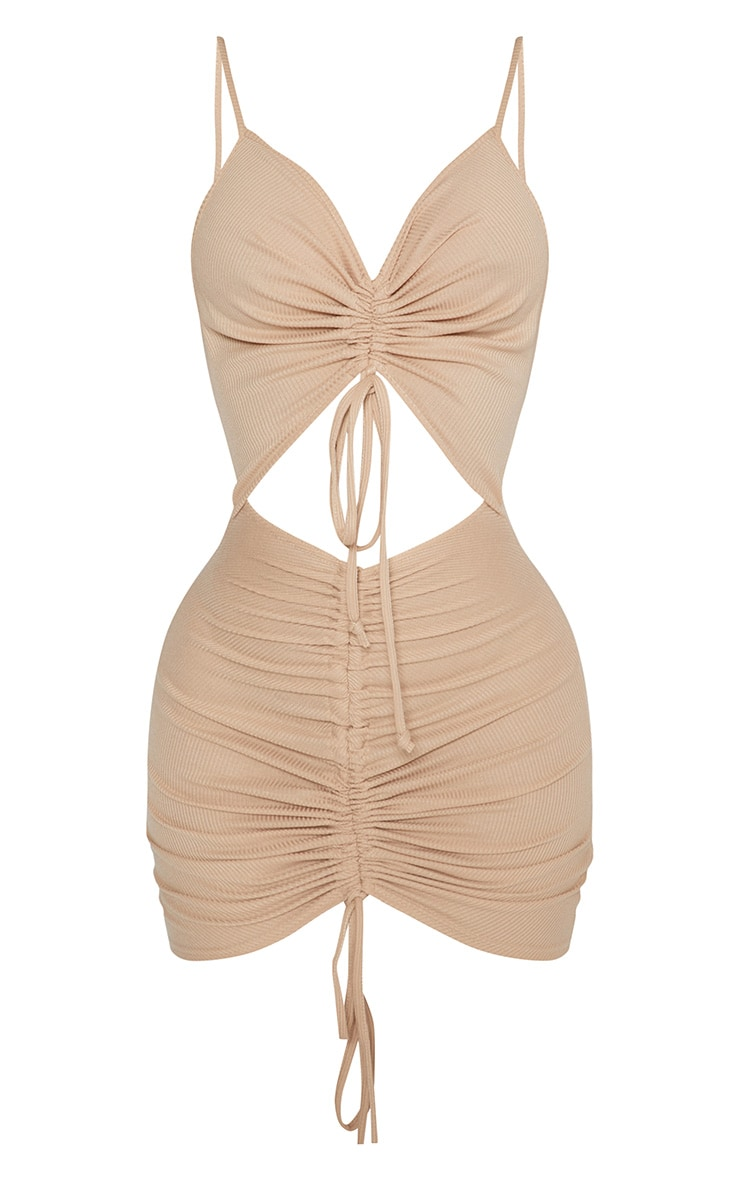 Shape Stone Ribbed Ruched Cut Out Bodycon Dress 3