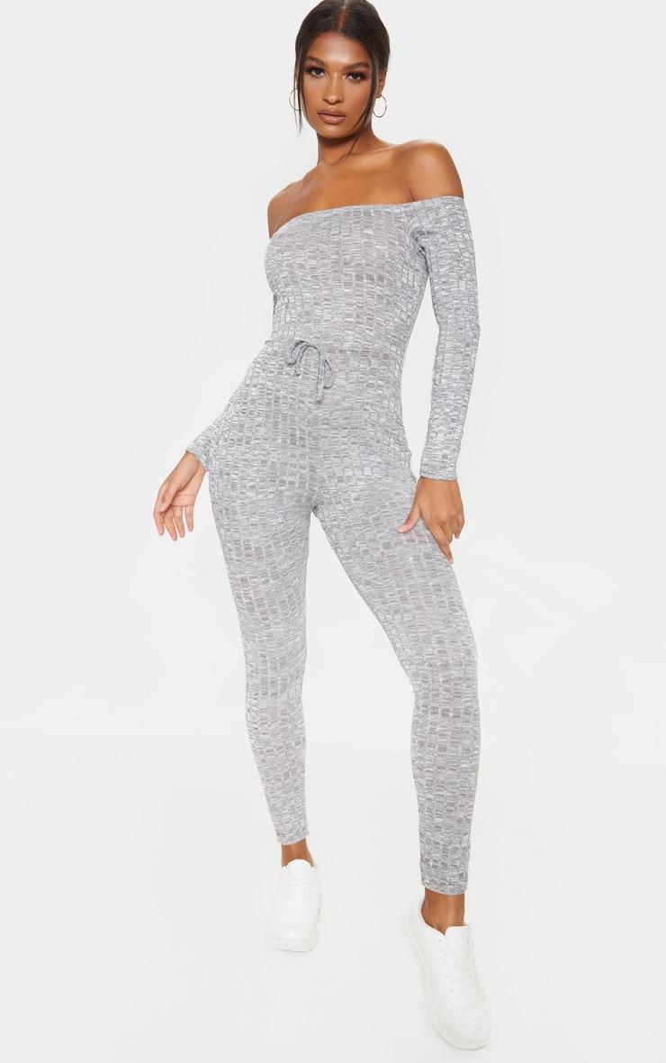 Light Grey Rib Knitted Bardot Jumpsuit 1