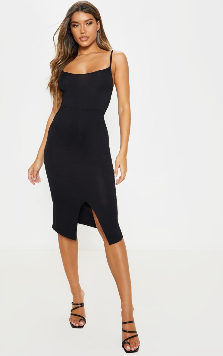 Black Split Front Strappy Midi Dress 1