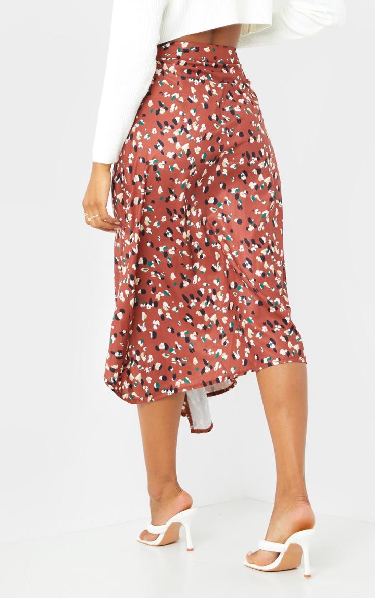 Tan Asymmetric Leopard Print Wrap Midi Skirt 3