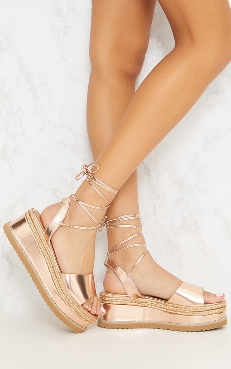 Rose Gold Metallic Espadrille Flatform