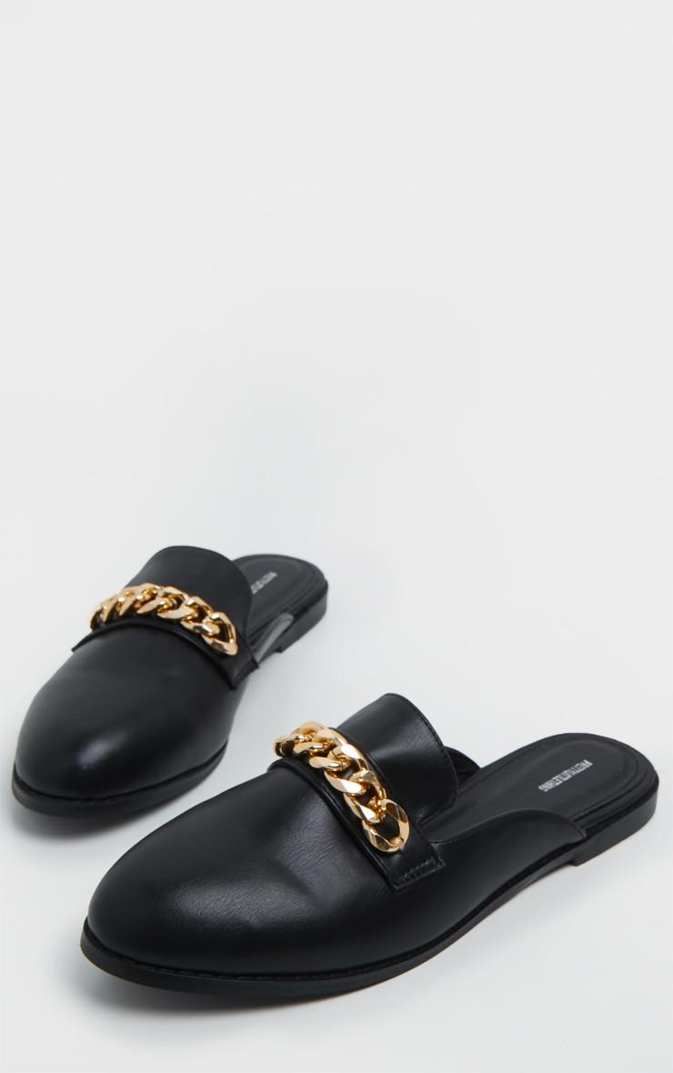 Black Chain Mule Flat Sandals 3
