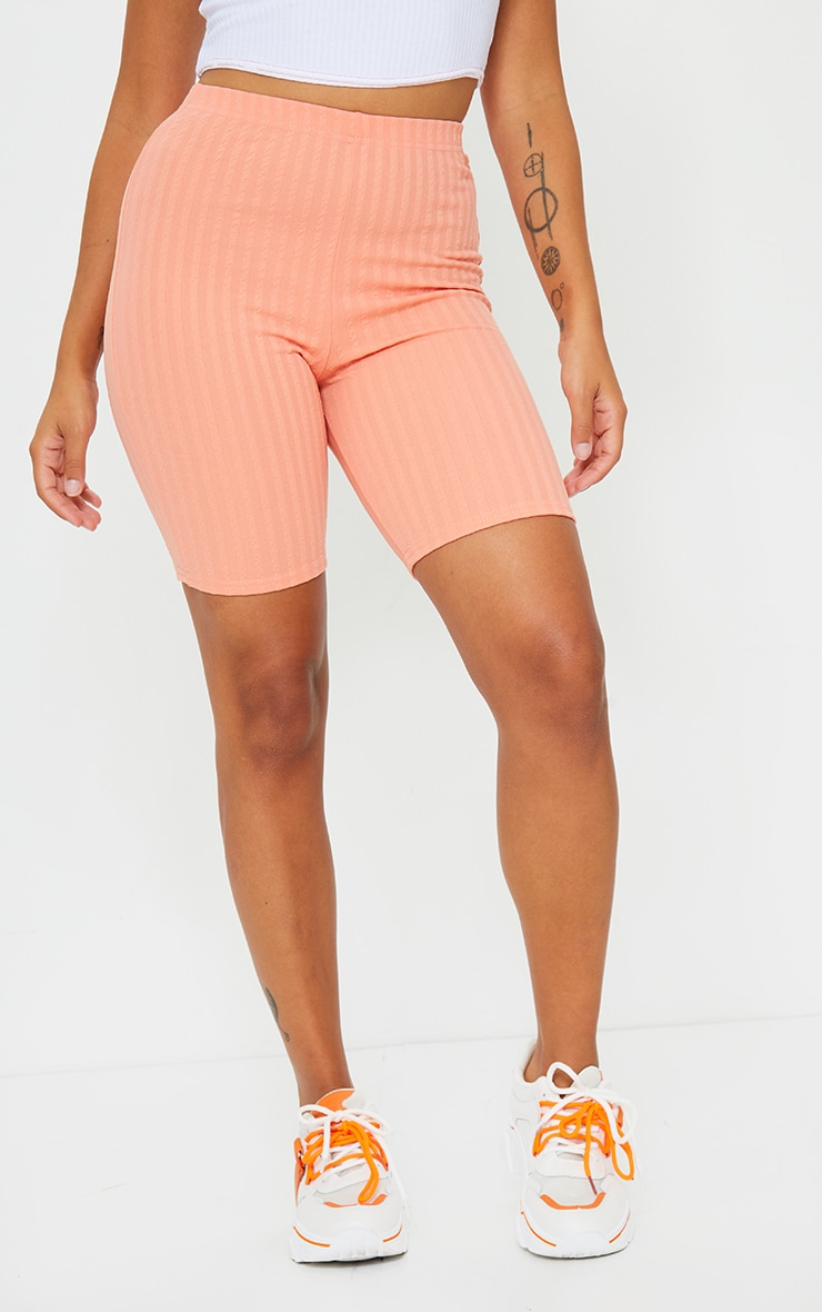 Petite Peach Crinkle Cycle Shorts 2