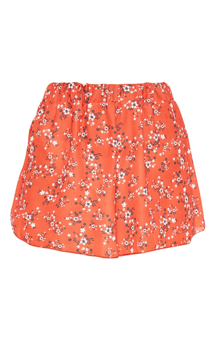 Short fluide léger à imprimé floral orange 3