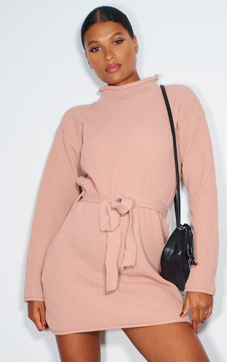 Blush Belted Turtle Neck Jumper Dress 1
