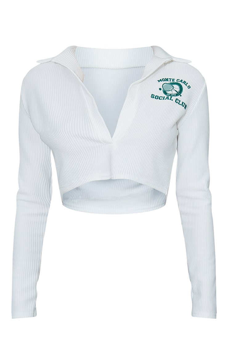White Rib Tennis Print Long Sleeve Crop Polo Shirt 5