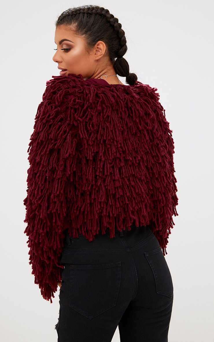 Burgundy Shaggy Knit Cropped Cardigan 2