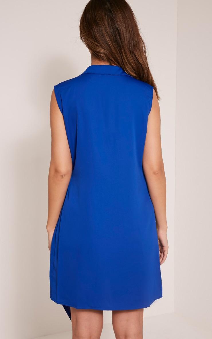 Shaylene Cobalt Sleeveless Tie Side Satin Shirt Dress 3