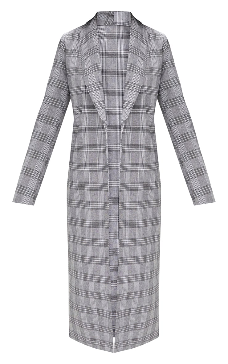 Grey Check Tailored Duster Coat 3