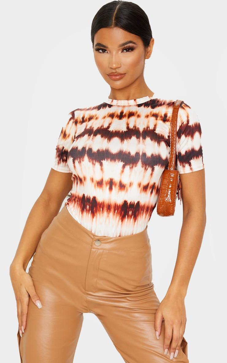 Brown Tie Dye Printed Slinky Fitted Tshirt 1