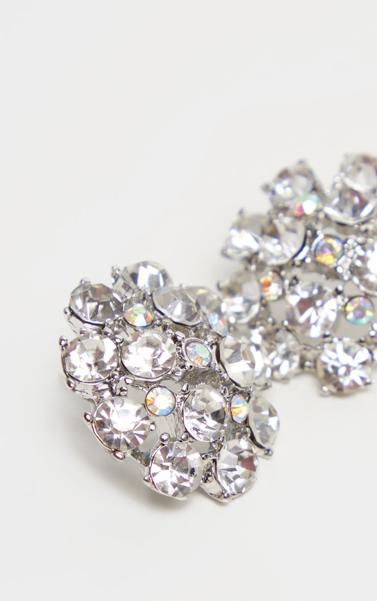 Silver Crystal Large Stud Earrings 3