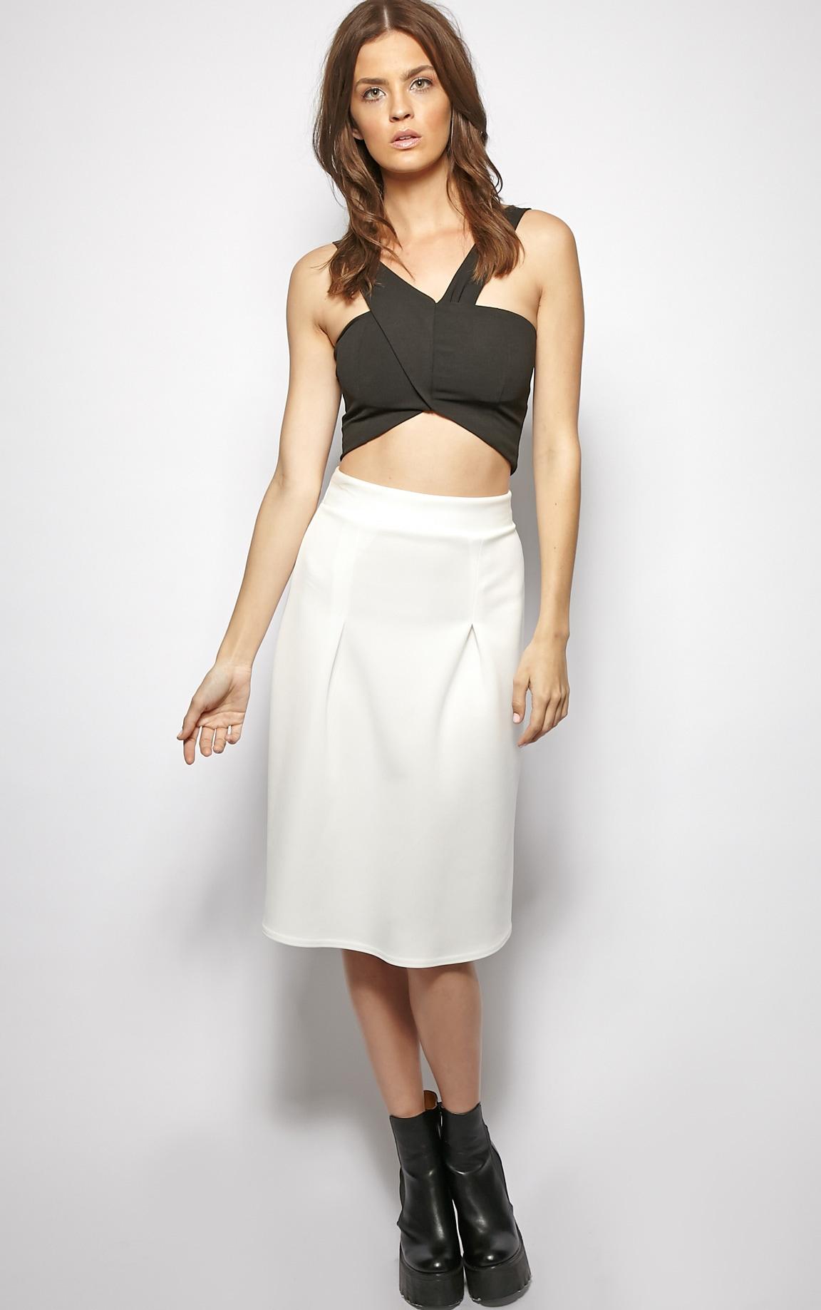 Clarissa White A Line Midi Skirt  5