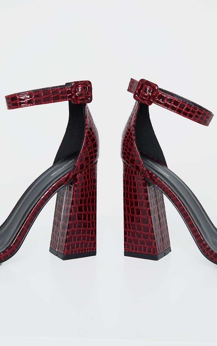 Burgundy Snake Square Buckle Ankle Strap Block Heel Sandal 4