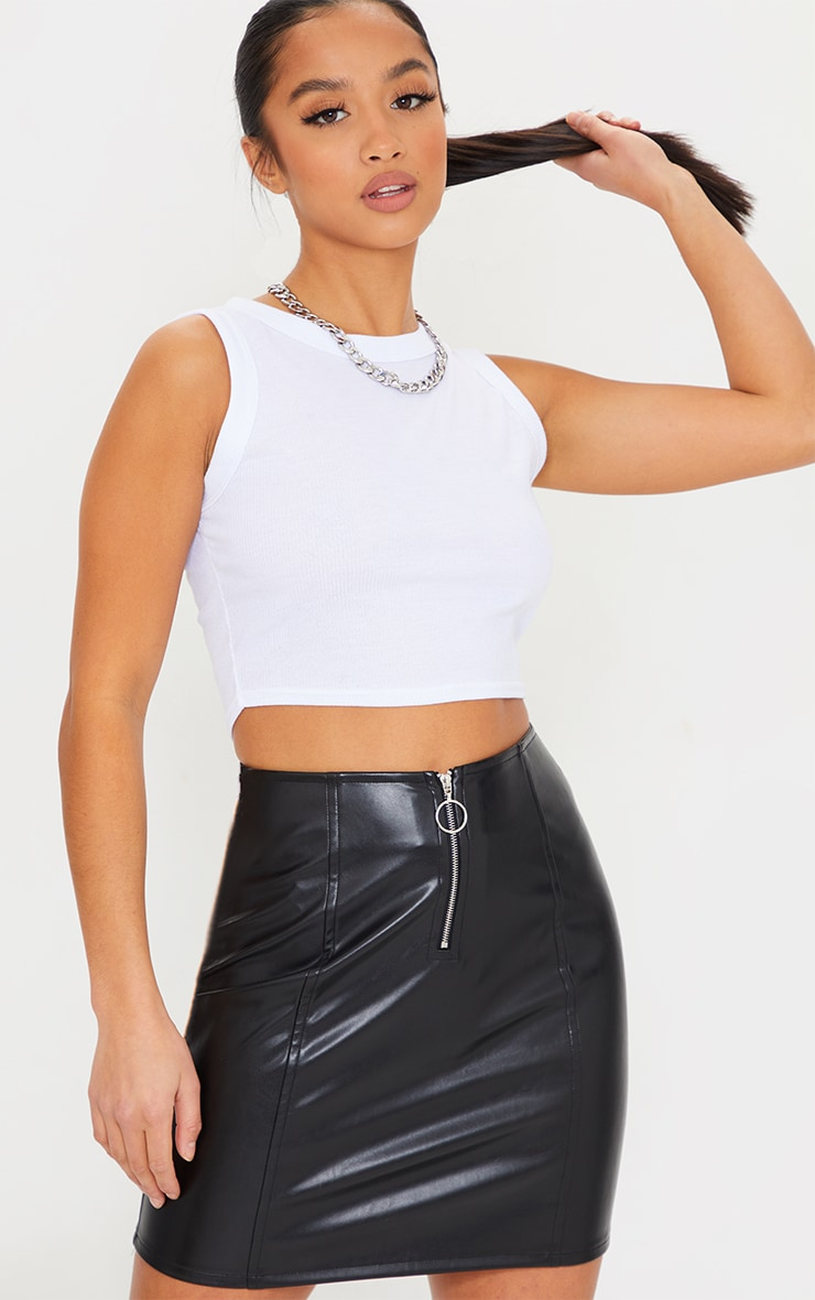 Petite Black Faux Leather Zip Through Mini Skirt 4