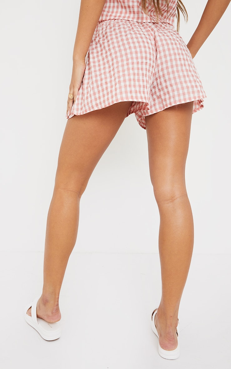 Pink Gingham Printed Woven Floaty Shorts 3