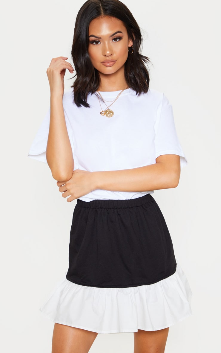 Black Poplin Contrast Frill Hem Mini Skirt  5