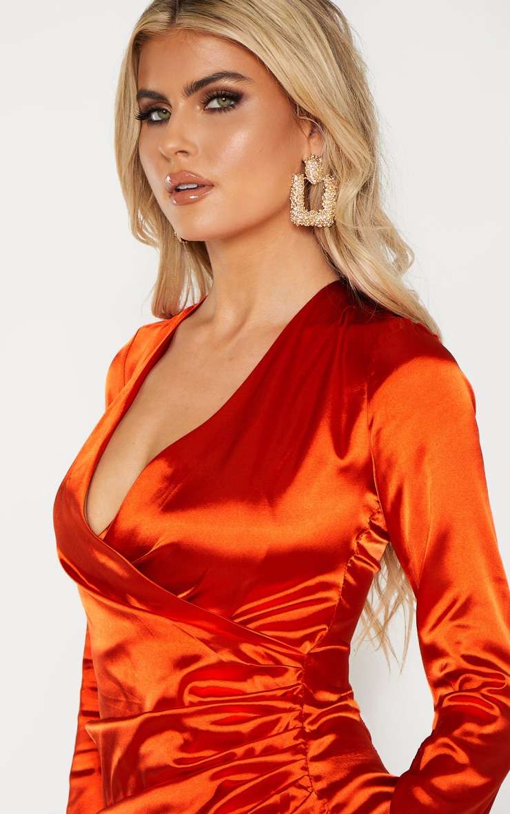 Tall Orange Satin Ruched Long Sleeve Bodycon Dress 5
