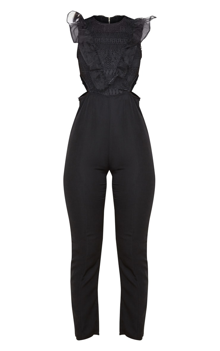 Black Mesh Shoulder Cut Out Detail Jumpsuit 3