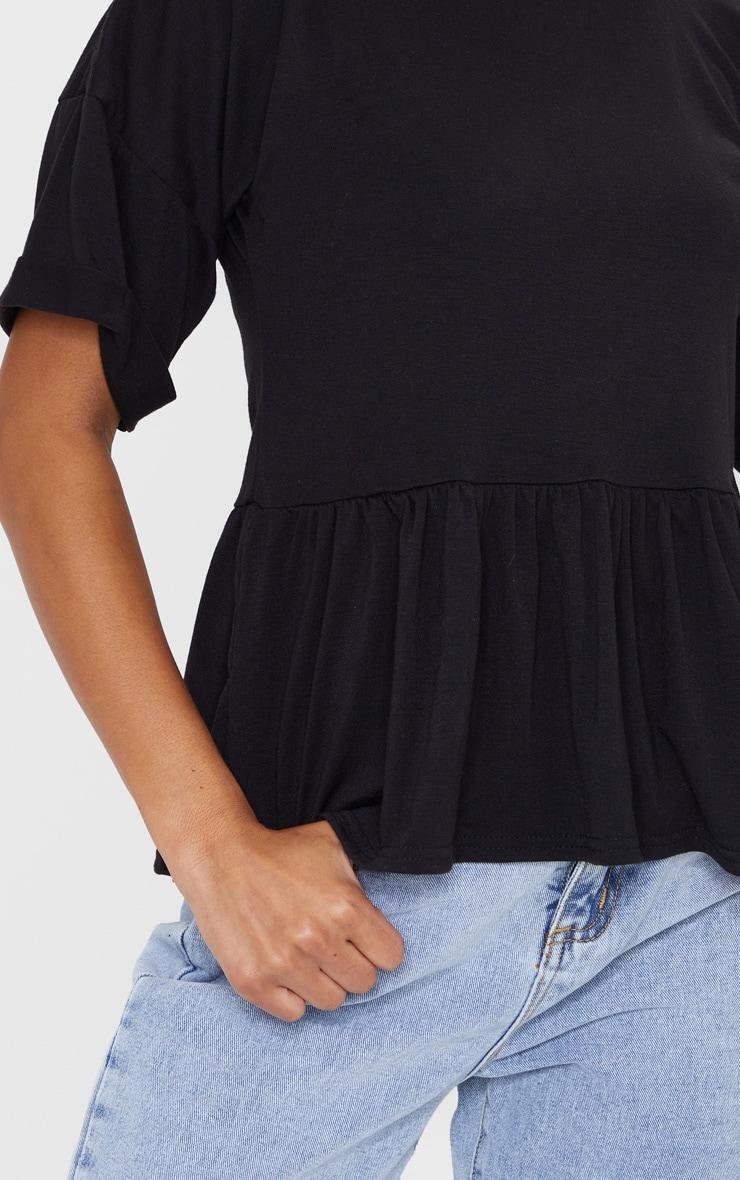 Black Frill Hem T Shirt 4