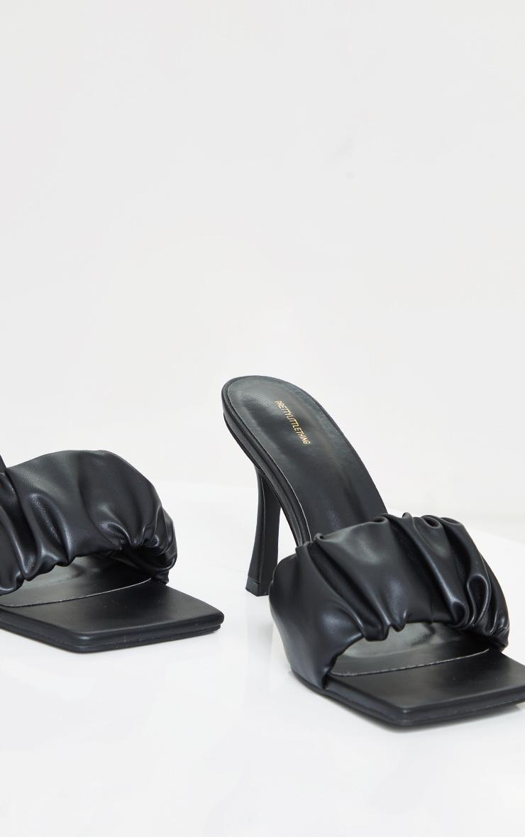 Black WIDE FIT PU Ruched Square Toe Heeled Mules 3
